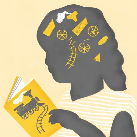 Illustration of girl reading a book with a train on the ocver and ideas in illustrated in her mind